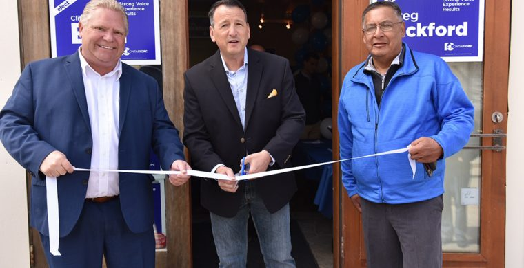 PC Party leader Doug Ford, candidate Greg Rickford and Chief Clifford Bull PC candidate in the newly established riding of Kiiwetinoong, a largely Indigenous ridding, at Greg Rickford's campaign office opening in Kenora. last week. (Supplied Photo)