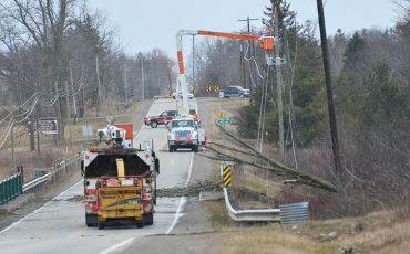 A wind storm knocked out power to most of Six Nations last Wednesday when a tree flew across a hydro line on Chiefswood Road near Third Line at Six Nations. Power was out for most of the day. The storm kept public works and fire departments running to a variety of scenes of lines down and trees across roads. (Photo by Jim C Powless)