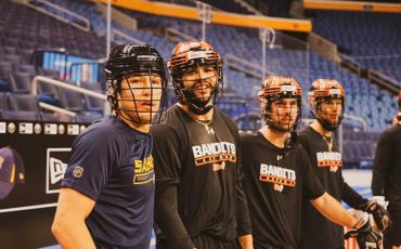 Buffalo Sabres and Six Nations own Brandon Montour took part in a lacrosse practice with the Buffalo Bandits. (Submitted Photo)