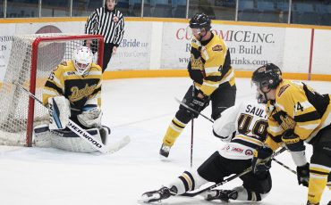 Cam Sault attempting to break the tie game for the Steelhawks. (Photo By Josh Giles)