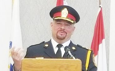 Six Nations own Rob Davis is now heading the Brantford City Police Department. The new Chief of Police will lead the city into a new era. (Photo by Donna Duric) Story page 2.