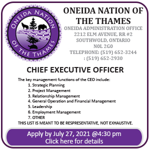 Oneida Nation of the Thames Chief Executive Officer
