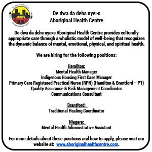De dwa da dehs nye>s Aboriginal Health Centre Job Postings